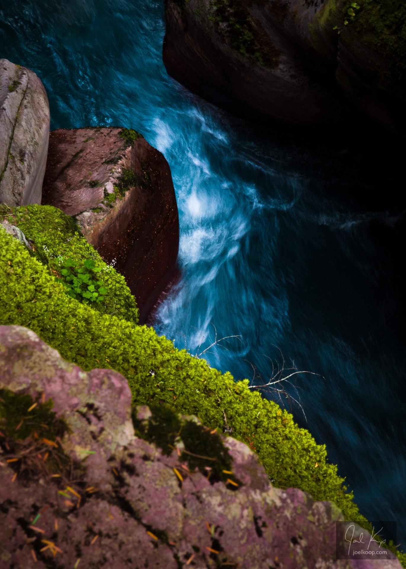 Moss Above Rushing Stream